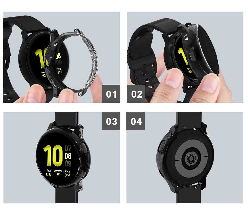 Must-Have Accessories for Samsung Galaxy Watch Active2 - Tensea Full Around Screen Protector Installation