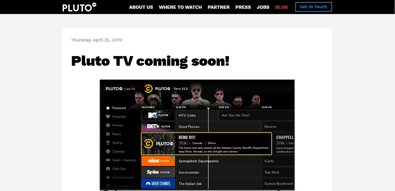 Vizio Smart TV Apps Pluto TV