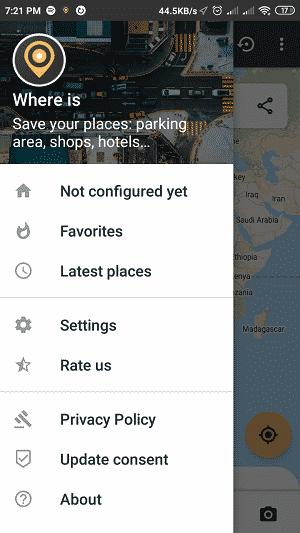 car locator app: app menu