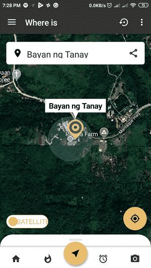 car locator app: toggle map
