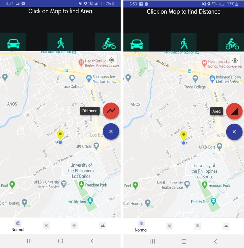 Area Calculator & Distance Measurement App UI