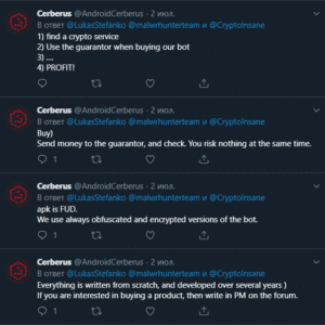 Malware Cerberus' developers advertised it on its Twitter page