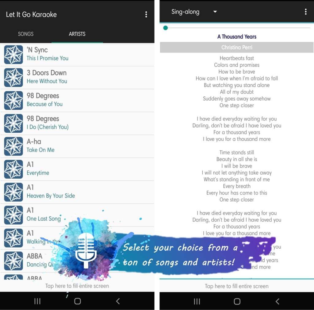 Let It Go Karaoke App Features