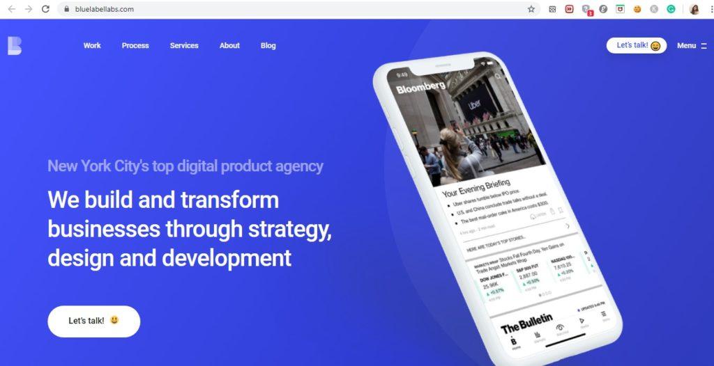 app development companies blue label labs website