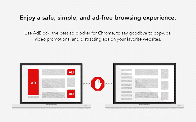 Users use AdBlock just to block disruptive ads and video ads on Google Chrome