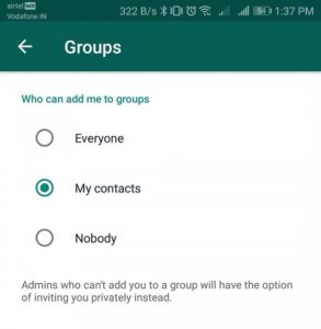 Set WhatsApp settings so admins on group chats can choose who gets to join