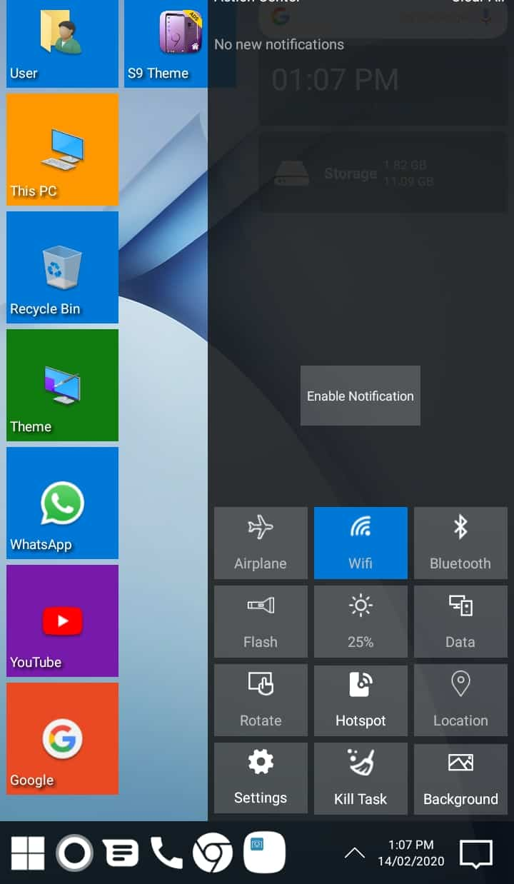 Best Microsoft Windows Launcher for Android - Win 10 Launcher Action Center