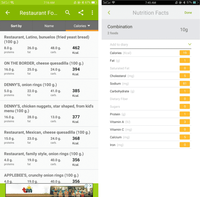 digital food scale app for Android calories in food