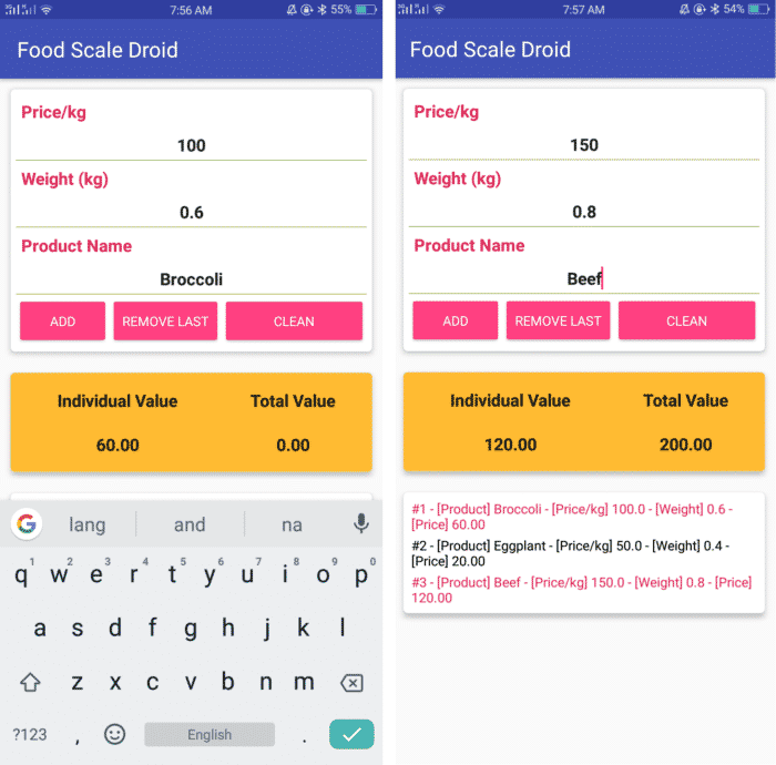 digital food scale app for android devices food scale droid