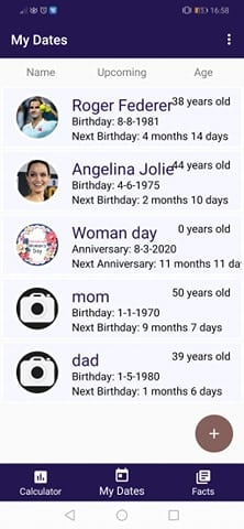 Age Calculator Apps: List of birthdays of inputted dates