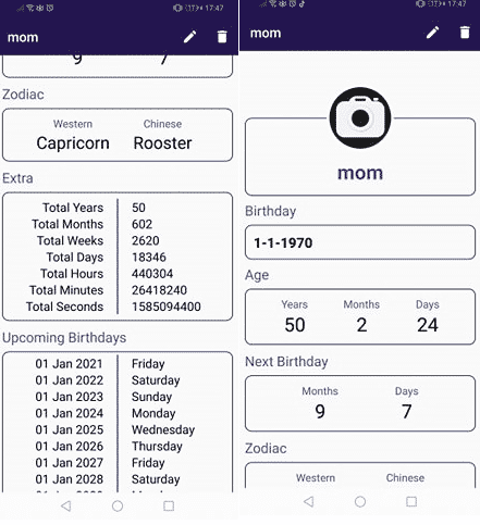 Age Calculator Apps: Zodiac sign of other persons