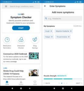 WebMD Symptom Checker Interface - Medical Diagnosis Apps