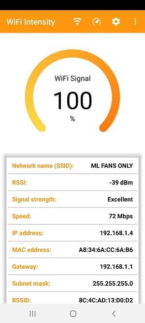 wifi signal strength app: wifi signal strength meter app view