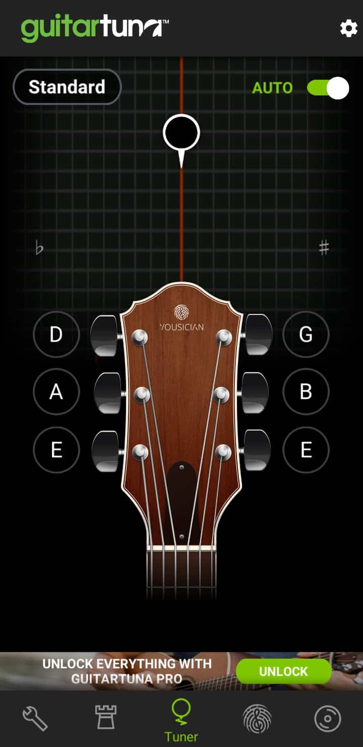 tuning guitars with the best android app for musicians: guitar tuna