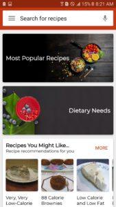 Recipe categories of one of best cookbook apps