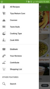 User interface of one of the best cookbook apps
