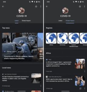 COVID-19 dedicated hub in Google News