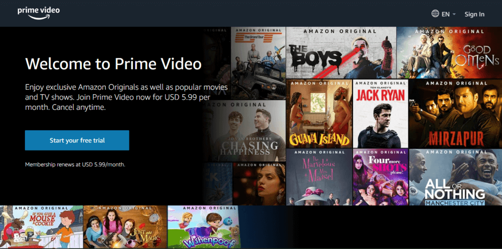 Best Samsung Smart TV Apps - Amazon Prime Video Homepage