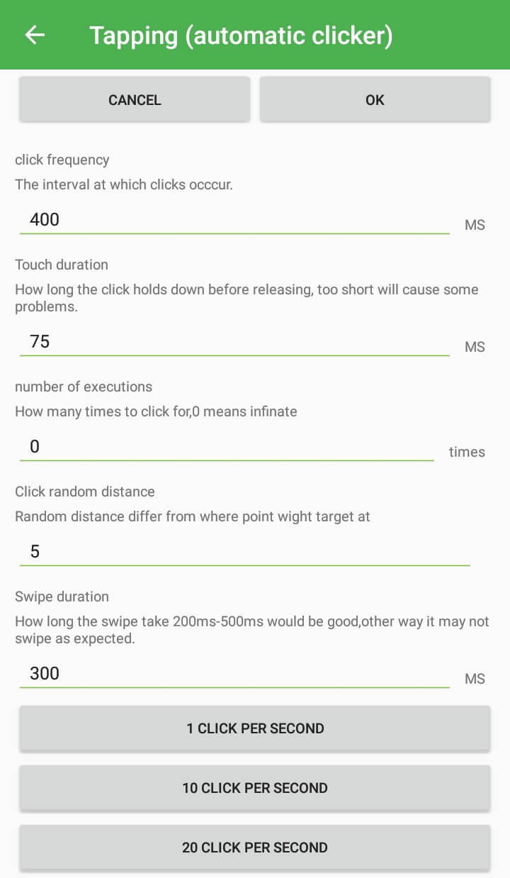 Best Auto Clicker Apps for Android - Tapping settings