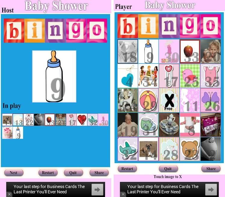 baby shower games bingo in-app