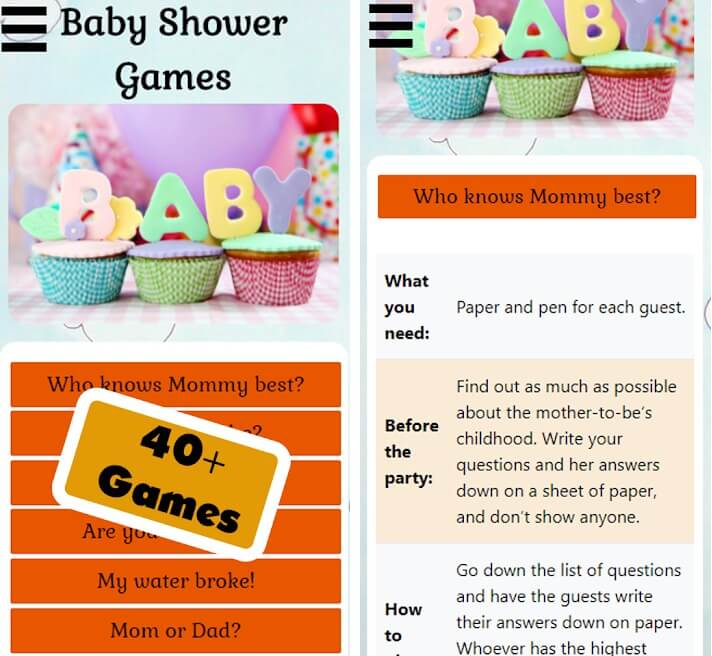 baby shower games lite in-game