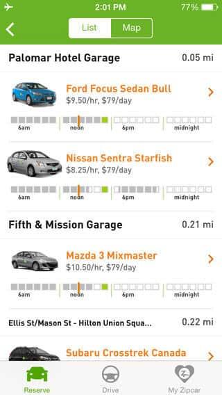 best free rides apps Zipcar