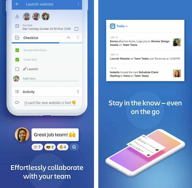 best project management apps for android trello in-app