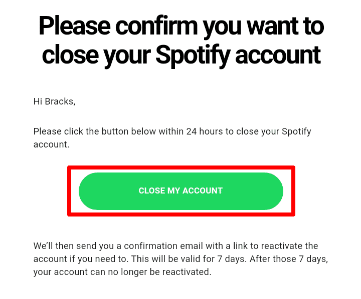 Email from Spotify to close your account