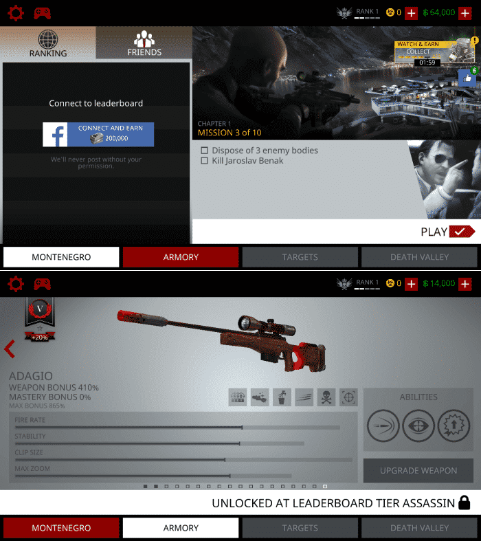 Hitman Sniper Homepage and Weapons - Sniper Games for Android