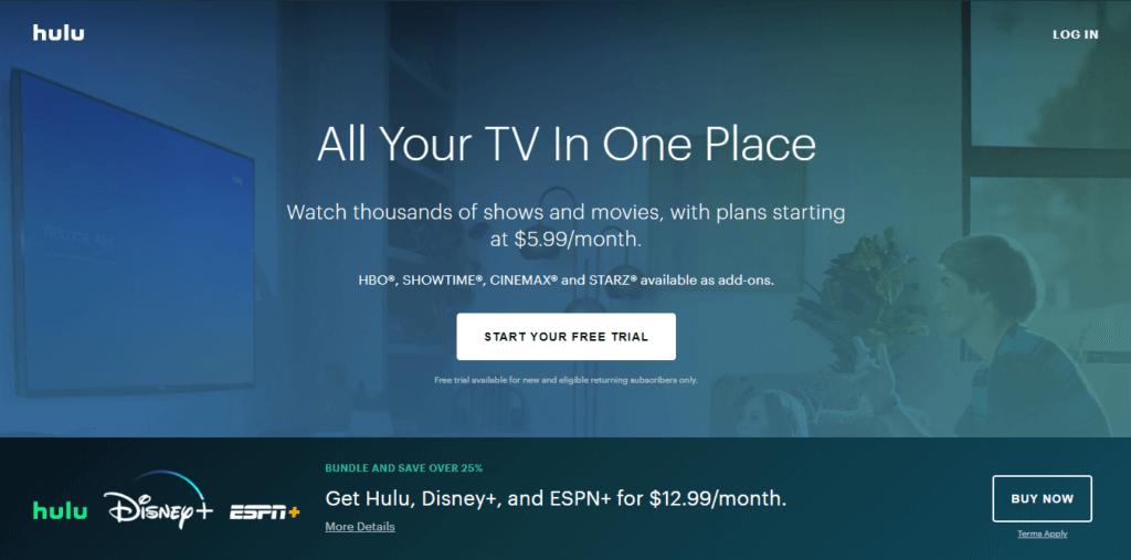 Best Samsung Smart TV Apps - Hulu Homepage