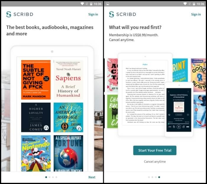 Scribd - Best eBook Reader Apps