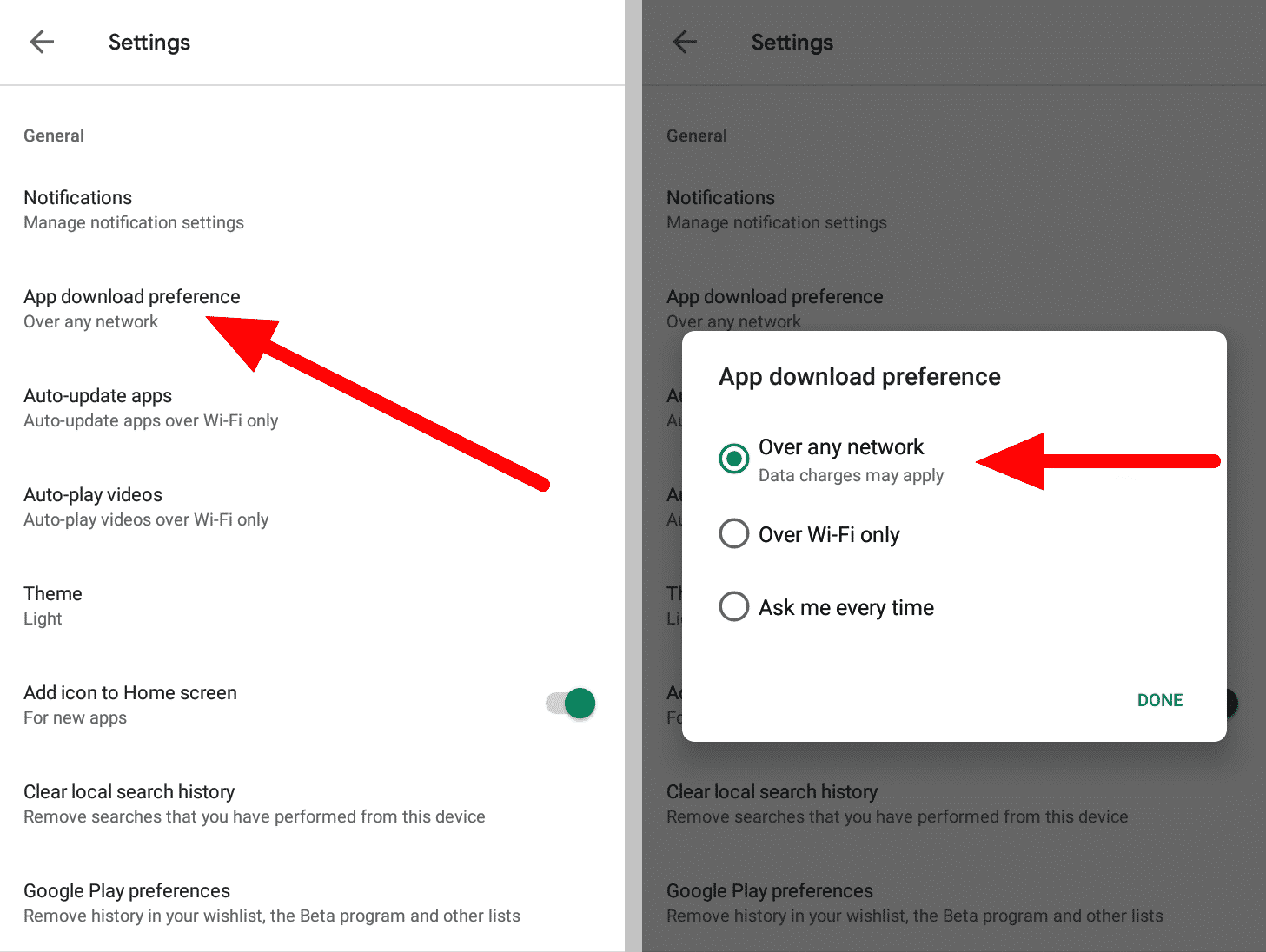 Google Play Store download preference setting