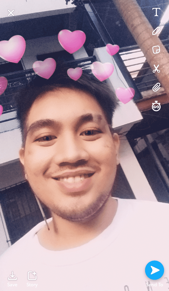 Snap with heart lens