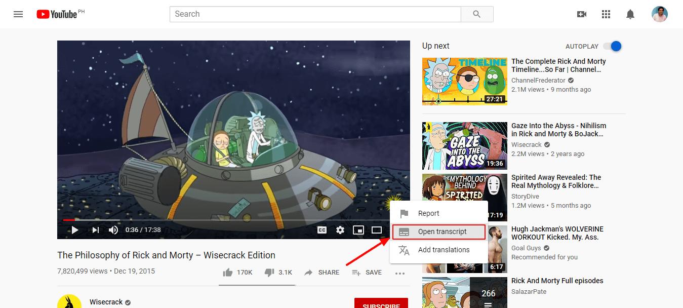كيفية نسخ ملفات فيديو يوتيوب - فتح النصوص