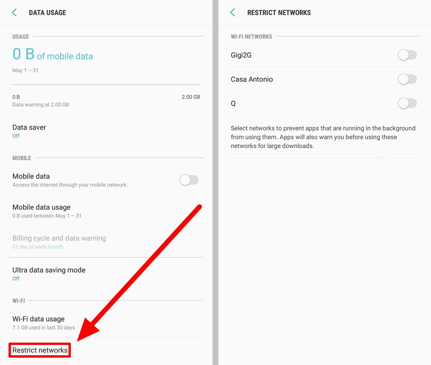 Restrict network settings