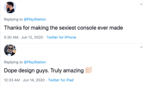 Users' reactions on the PS5 console design