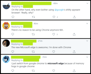 twitter reacts to microsoft edge.