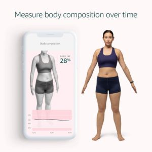 The app renders a 3D model of your body to determine body fat percentage
