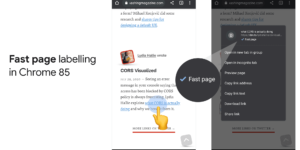 The 'fast page' label found in the context menu of the link