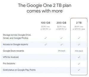 The Google One storage plan