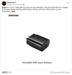 Samsung's ad mocking Apple for not including a power adapter in the iPhones 12 series phones
