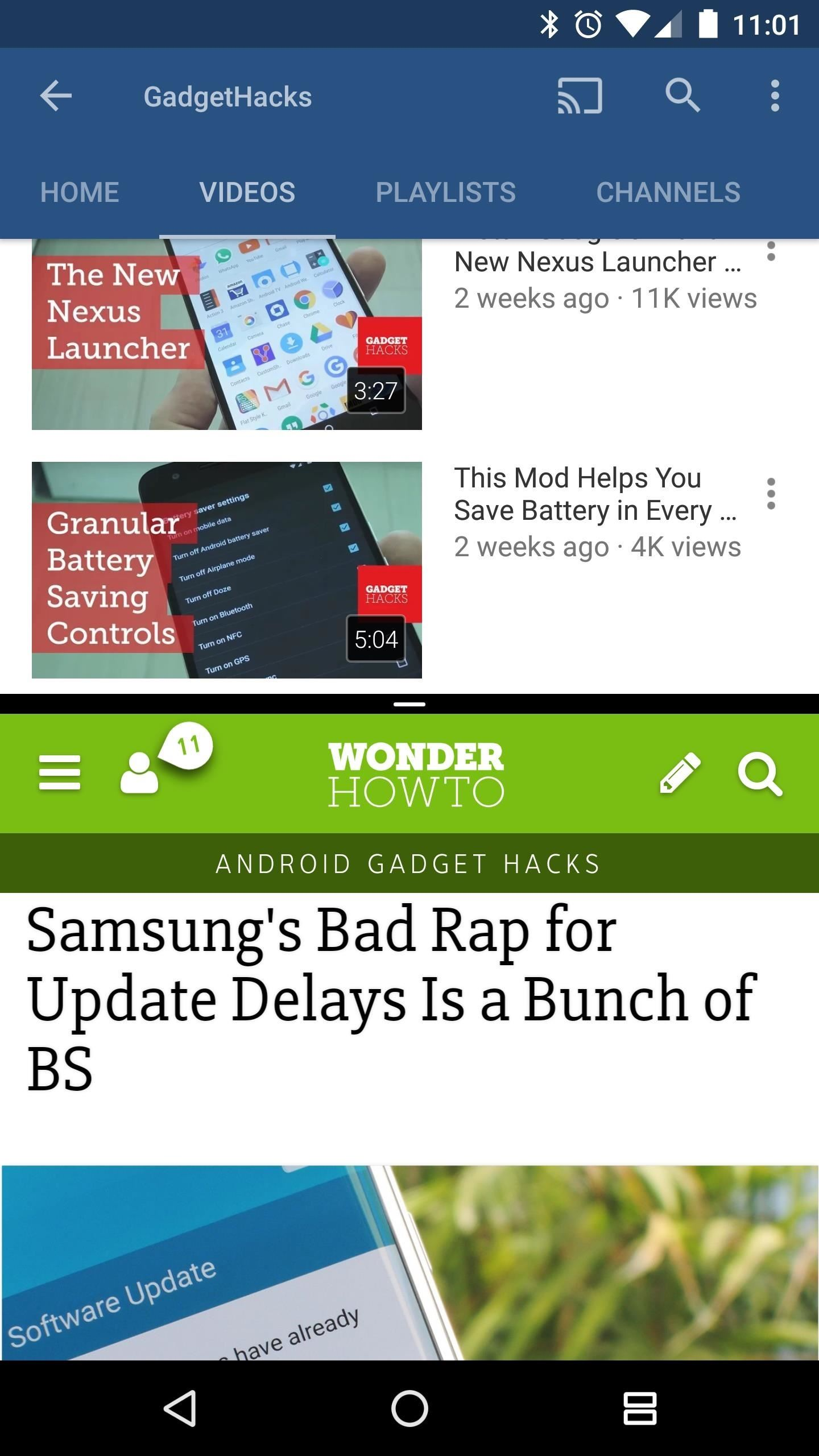 Split screen on Android device