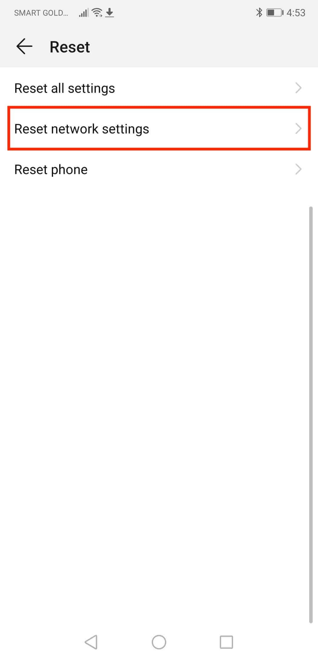 Select 'Reset network settings' on phone