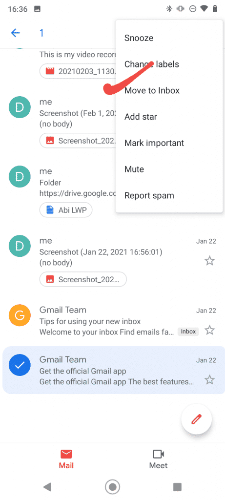 Move the mail to inbox