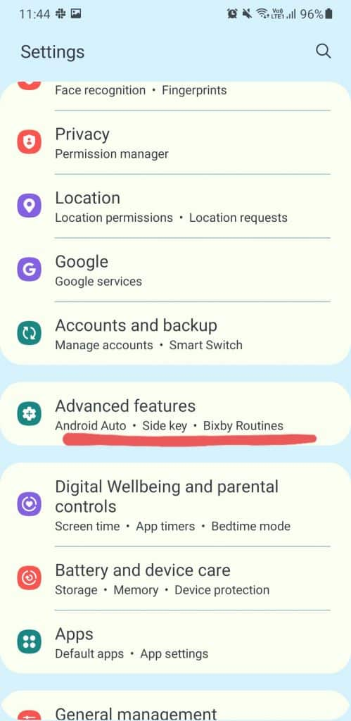 advanced features in settings
