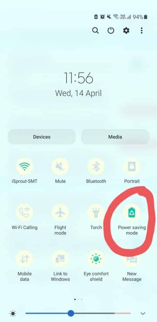turn power saving mode off if it is on