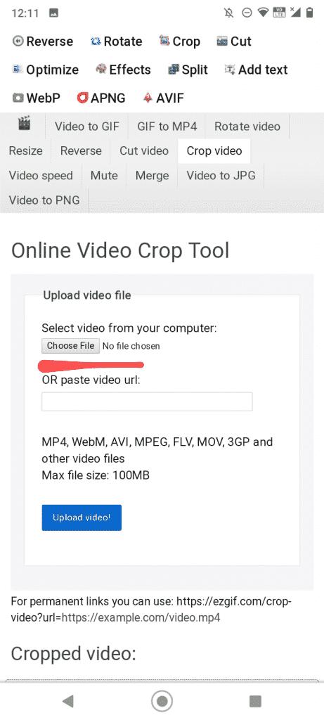 crop video on ezgif