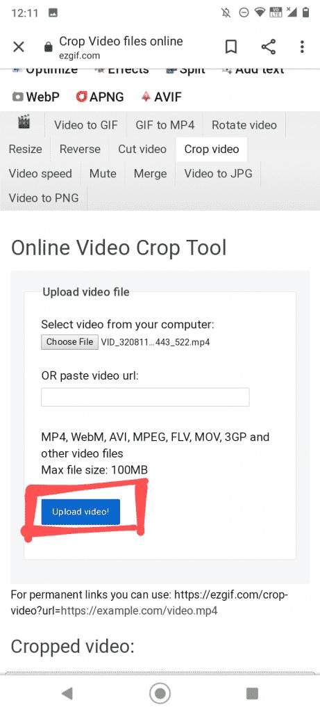 upload video on ezgif