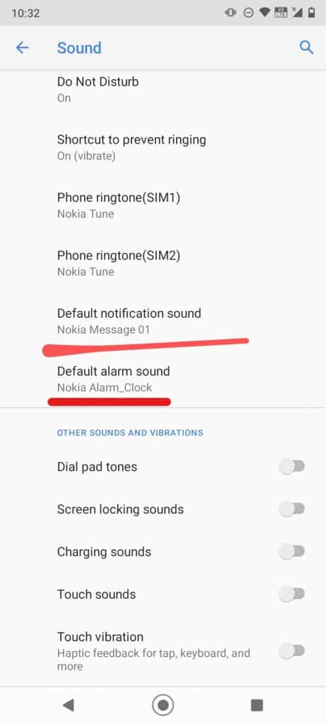 default alarm and notification sounds