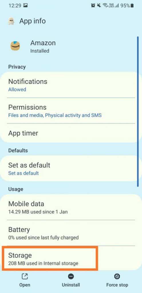 storage in app settings